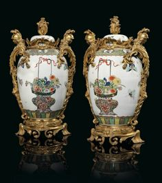 19th century porcelain mounted cabinet | pair of french ormolu-mounted Samson famille vert porcelain vases ...