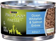 Purina Pro Plan Finesse Adult Classic Ocean Whitefish & Salmon Entree Canned Cat Food, 3-oz