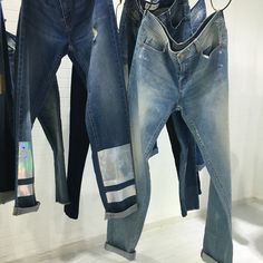 Jeans with silver panel foil and allover transparent foil washed . 90's and boyfriend fit in www.unionmill.com showroom, denim and woven garment supplier in Shanghai