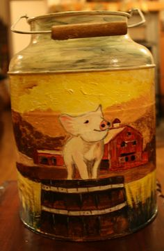 Tole painting on milk can Milk Cans, Tole Painting, Craft Organization, Whiskey Bottle, Jar, Canning, Crafts, Home Decor, Manualidades