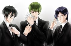 meganes (Nobuchika Ginoza, Shintarou Midorima, and Ishida Uryuu) unnnnnf http://www.zerochan.net/1539045