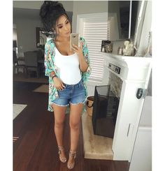 130 popular summer outfits to wear now page 3 Cute Summer Outfits, Short Outfits, Spring Outfits, Casual Outfits, Cute Outfits, Look Short Jeans, Look Con Short, Look Fashion, Fashion Outfits