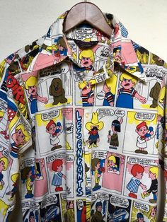 70s vintage comic print shirt Campus by twinflamesboutique on Etsy