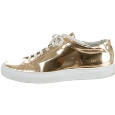 Woman by Common Projects Metallic Low-Top Sneakers ($325) ❤ liked on Polyvore featuring shoes, sneakers, metallic, common projects sneakers, round cap, lace up sneakers, low profile sneakers and low profile shoes