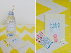 cute way to do the pills and baindaids for the hang over kit