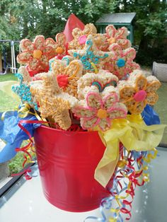 Rice Krispies treats bouquet
