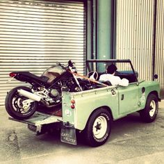 Land Rover Defender 90,and a Ducati Monster!  I wanna be that guy!