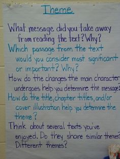 theme anchor chart: because my 8th graders came to me believing theme is the same as plot! Ugh!
