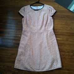 """LOFT pink lace cap sleeve dress Measures 17"""" across at waist and 20"""" from waistband to bottom. 70% cotton/30% nylon shell. 100% polyester lining. New with tags. This is a PETITE size. Be sure to check out the rest of my closet and don't forget about the bundle feature to save 10%! LOFT Dresses"""
