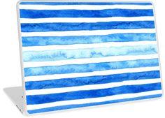 Watercolor strokes laptop skin by Anastasia Shemetova #watercolour #strokes #colorful #blue #creative #wash #brush #faerieshop #redbubble #skin #case #notebook #laptop