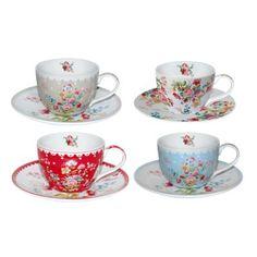 Xicaras Le Jardin Secret Vintage Cups, Tea Time, Tea Cups, Plates, Dishes, Coffee, Deco, Tableware, Tabletop
