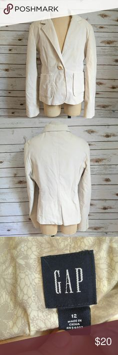 GAP Soft White Velveteen Blazer GAP Soft White Velveteen Blazer Size 12 Not velvet but very close. Very very very soft, I truly wish this one fit me. Perfect for the office or even for a night out with friends. Not a crisp white and not cream, more just like a soft white. Perfect condition with lots of structure. Please let me know if you have any questions. I ship the same day as long as the post office is still open. Have a great day, thanks for checking out my closet and happy poshing…