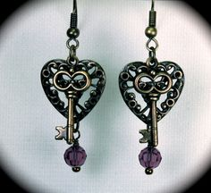 SALE: Amethyst crystals and brass filigree heart earrings: by Love2BeadbyCindy, $10.00