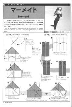 Origami Mermaid Designed by Nishikawa Seiji part 1 Origami Mouse, Origami Yoda, Origami And Quilling, Origami And Kirigami, Origami Paper Art, Origami Dragon, Origami Fish, Origami Folding, Oragami
