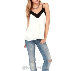 Loose Chiffon V-Neck Tank -  - Tank Top  Look Love Lust https://www.looklovelust.com/products/loose-chiffon-v-neck-tank