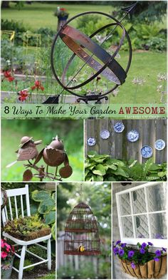 8 Ways to make your garden awesome! Creative ideas using repurposed items and garden art to kick your garden up a notch. #spon