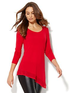 Shop Manhattan Tee - Chiffon-Trim Asymmetrical Hem . Find your perfect size online at the best price at New York & Company.