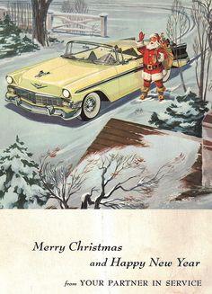 1956 Chevrolet Bel Air Convertible - Christmas - Santa Claus - mid century modern - advertisement