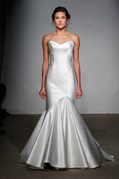 Stunning vintage-inspired asymmetrical mermaid gown with just a hint of silver sheen. | Gown by Anna Maier ~ Ulla-Maija