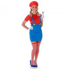 Supermario γυναικεία στολή υδραυλικού για ενήλικες