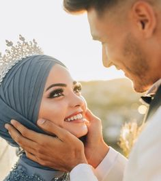 Image may contain: one or more people and closeup Hijab Wedding Dresses, Disney Wedding Dresses, Cute Muslim Couples, Cute Couples, Wedding Photography Poses, Couple Photography, Hijab Mode, Muslim Brides, Muslim Women