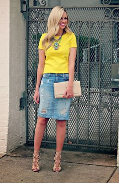 Bows and Depos: The Lighter Side - distressed denim skirt, bright yellow tee, statement necklace