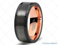 Black Gunmetal Tungsten Ring Rose Gold Wedding Band Ring Tungsten 8mm 18K Tungsten Ring Man Wedding Band Male Women Custom Anniversary Size
