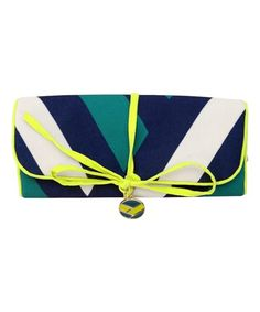 Another great find on #zulily! Navy & Celery Stewardess Jewelry Roll #zulilyfinds