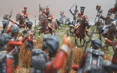 French Red lancers charge a group of Highlanders