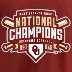 Men's Fanatics Branded Crimson Oklahoma Sooners 2017 NCAA Women's Softball College World Series National Champions Double T-Shirt