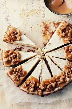 cheesecake with toffee sauce & salted nuts