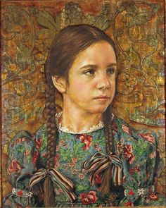 Betty with gold leaf background by Bernard Safran, 1969 oil on wood panel