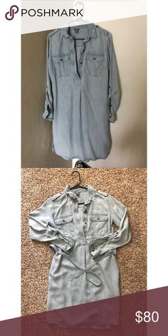 Eddie Bauer Jean Dress NEVER WORN. Runs small through the hips - recommend a size 4 to buy this dress Eddie Bauer Dresses Long Sleeve