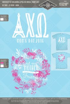 University of Oklahoma Alpha Chi Omega Mom's Day #BUnlimited #BUonYOU #CustomGreekApparel #GreekTShirts #Fraternity #Sorority #GreekLife #TShirts #Tanks #AlphaChiOmega #AlphaChi #AXO #Mom'sDay #Parent'sWeekend #Mom'sWeekend #FloralWreath #FlowerCrown #Flowers #Wreath #GreekLetters #Quote #EiffelTower #Watercolor