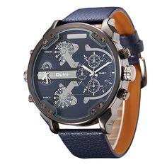 df84abf681d Quartz Watch Man Casual Leather Big Watches for Men erkek kol Big Watches