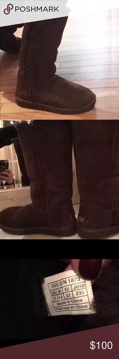 UGG Bailey Button Boots Women's UGG Australia Bailey Button Boots 100% Authentic Color - Dark Brown  Size - 6 Women's  Condition - Used with care, in great condition !! No original box UGG Shoes Winter & Rain Boots