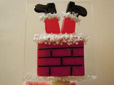 Santa is Stuck in the Chimney Fused Glass Night light by LaGlasSea
