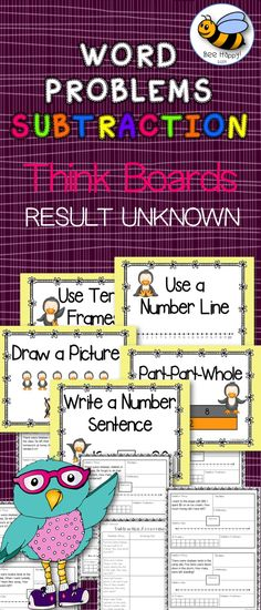"Think Boards are a great, visual device for helping children to solve math word problems. They encourage the use of different strategies to solve the problems. Armed with the knowledge and experience of using a variety of strategies, the children will start to make their own decisions as to the most appropriate strategy for them to use at any one time.  The word problems in this package deal with subtraction using numbers to twenty. They are all ""Result Unknown"" problems."