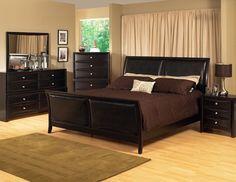 KING Size BLACK Modern Sleigh Bedroom Set w/Padded Leather Headboard $1409