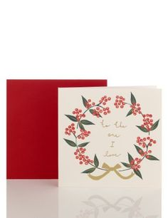 To the One I Love Berry Wreath Christmas Card-Marks & Spencer
