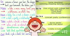 Verb Collocations in English! There are certain verbs that always go with certain nouns. We call this a verb collocation. Let's learn these collocations as below with ESL images. Teaching English Grammar, English Language Learning, English Vocabulary, Improve Your English, Learn English, Break A Habit, English Collocations, English Verbs, Printables