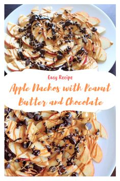 Apple Nachos recipe with peanut butter and chocolate drizzle. Fruit, protein and chocolate makes this a great healthy snack at any time! Chocolate Caramel Cake, Chocolate Apples, Chocolate Crunch, Dark Chocolate Chips, Chocolate Peanut Butter, Melting Chocolate, Caramel Apples, Chocolate Desserts, Apple Recipes