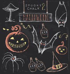Unique Haloween Chalk Art Vintage Chalkboard Halloween Hand Drawn Jpeg Stock Illustration with regard to ucwords]