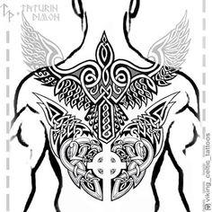 No photo description available. Tribal Tattoos, Tattoos Skull, Body Art Tattoos, Badass Tattoos, Sleeve Tattoos, Viking Compass Tattoo, Norse Tattoo, Viking Tattoo Design, Celtic Tattoos For Men