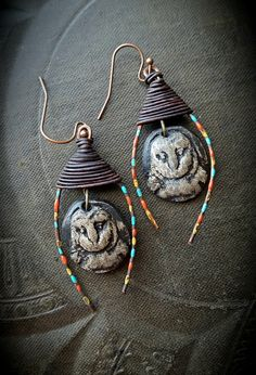 Ceramic Owls Animals Wildlife Rustic Petroglyph by YuccaBloom