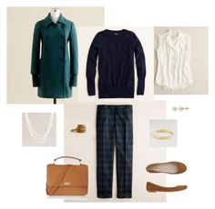"""""""Academy Coat and Plaid"""" by bluehydrangea ❤ liked on Polyvore featuring J.Crew, Lord & Taylor, Toast and ballet flats"""
