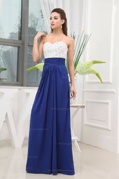 Sweetheart Full Beaded Bodice Chiffon Floor-Length Skirt Dress