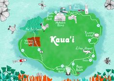 Custom, illustrated wedding map of Kaua'i (personal details in top left corner have been removed). This is the front, event details were on the back. www.jenreyn.com