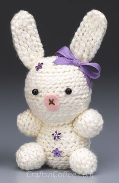 Easy, amigurumi style bunny. There's no knitting, no crochet and no sewing! Tutorial on CraftsnCoffee.com.