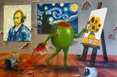 Van Gogh Embellished  by Michael Godard - Embellished Giclee on Canvas